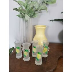 Kyпить Limoncello Shot Glasses With Handle, Frosted Glass, Hand Painted Set of 5 на еВаy.соm