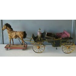Kyпить AMAZING! Early 1890's French Tin Horse Drawn Coach w/ Moveable Roof RARE на еВаy.соm