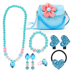 Kyпить Hifot Kids Jewelry Little Girls Plush Handbag Necklace Bracelet Earrings Ring up на еВаy.соm