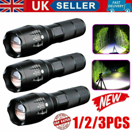 img-90000LM T6 LED Super Bright Zoom Flashlight Powerful 18650 Camping Lamp Torch UK