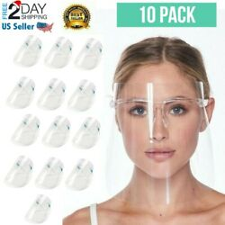 10 PACK Face Shield Safety Protection Guard Mask With Glasses Reusable Shields