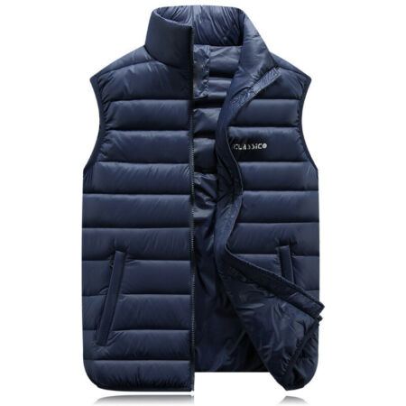 img-Mens Gilet Body Warmer Quilted Padded Sleeveless Zip Up Vest Jacket Coat ZHQ05