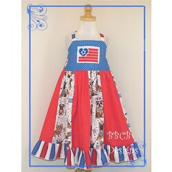Girls USA Patriotic Dog Dress - American Flag Pageant OOC 5T 5/6 NEW