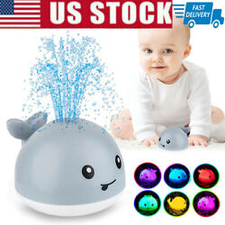Kids Bath Toy Whale Induction Sprinkler Automatic Spray Water LED Light US Stock