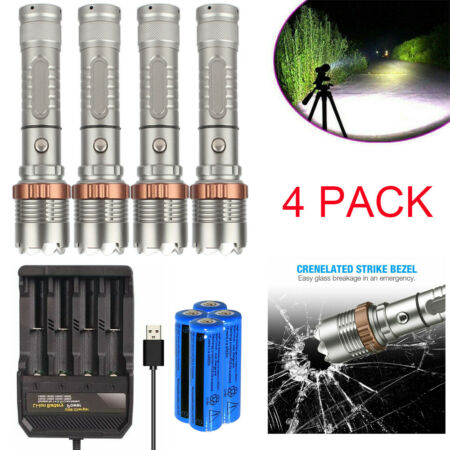 img-4Set Tactical 990000LM LED Flashlight Rechargeable Military Torch Camping Light