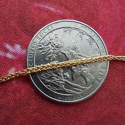 14K (585) Pure Gold Bracelet. Real Gold  Wheat Chain 7