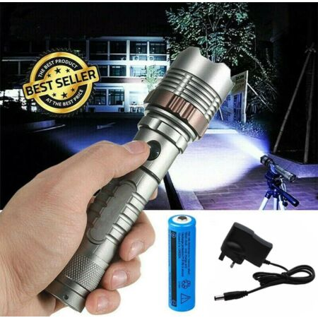 img-990000LM LED Flashlight Super Bright 5 Modes Military Torch Light Rechargeable