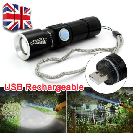 img-USB Flashlight Torch Ultra Bright MINI CREE LED Light Tactical Rechargeable Lamp