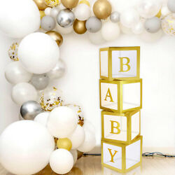 4pcs BABY Transparent Balloons Storage Boxes for Baby Shower Party Decorations