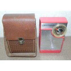 SEARS SILVERTONE 7 TRANSISTOR RADIO AM CORAL RED MODEL 4210 WITH CASE