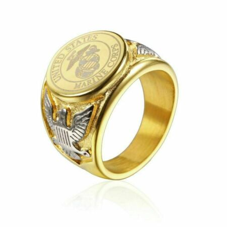 img-Marine Gold Ring Silver Stainless Steel Men Women US Military AirForce Navy Fire