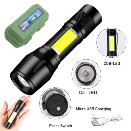 img-Tactical COB LED Flashlight USB Rechargeable Hiking Military Torch Pocket Size