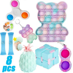8 pack US Relief Sets W/Cube (Blue)Cheap Figet Toys Anti Stress Simple Dimple