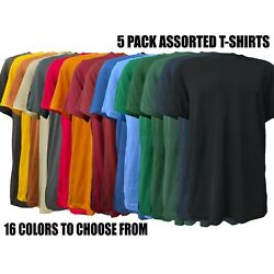 (5 Pack) Short Sleeve Mix Colors Cotton T-Shirts Plain T-Shirts Tee Assorted Mix