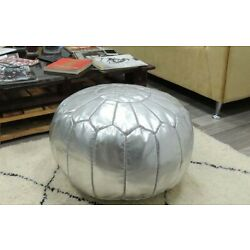 genuine moroccan ottoman Silver leather pouf,moroccan handcrafted leather pouf,
