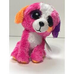 TY BEANIE BOOS  Austin The Multi Colored Pink Dog Claire's Exclusive. 6 inch NWT