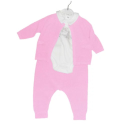 Baby Girl 3 Piece Knitted Pink Set w/ body, cardigan and Trousers