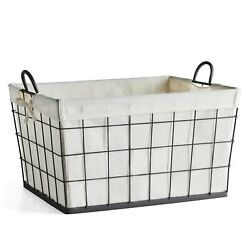 Better Homes & Gardens Antique Gray Wire Laundry Basket with Removable Liner