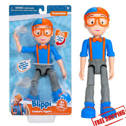 Blippi Feature Talking Figure, 9-inch Articulated Toy with 8 Sounds and Phrases
