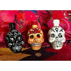 Lot of 3 EMPTY KAH TEQUILA  50 ML Hand Painted Skull Head Bottles Free Shipping!