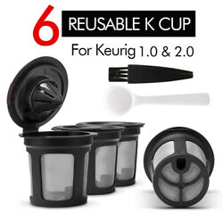 6x Refillable K-Cups Coffee Filters Pod for KEURIG 1.0 & 2.0 Single Serve Maker