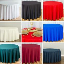 10/15 Bulk Sale 120 in. Round Poly Tablecloths Wedding Events Holiday, 8 Colors!