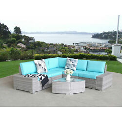 Luxury 6pcs Outdoor Patio Sofa Set PE Rattan Wicker Sectional Furniture Couch