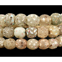 Skunk Venetian Trade Beads White / Clear with Dots