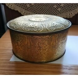 Vintage Guildcraft New York Gold Ornate 8'' Round Tin w/ Humidor Insulated Lid