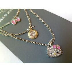 NEW! Hello Kitty Set of 3 Girls Necklaces with Rhinestones Absolutely Adorable