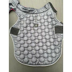 Silver Paw Dog Gray Quilted Coat Hot Pink Lining Sz Medium
