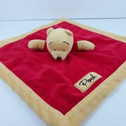 Disney Winnie the Pooh Baby Security Blanket Plush red and yellow trim Lovey