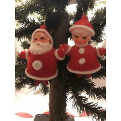 Vintage Christmas Retro Santa and Mrs. Claus Ornaments Red Flocked