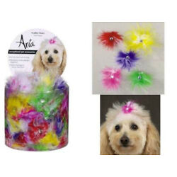 Dog Puppy Feather Grooming Bow - Set of 10 Bows - Pink, Purple, Green Yellow Red