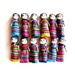 12 2 inch Hand Made Guatemalan Worry Doll Women Trouble Dolls Mexico