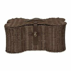 Pet Storage Collection Toy Basket Large, 24x15x9'' Brown Plastic Wicker