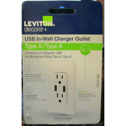 LEVITON 3.6A USB Charger/ Tamper Resistant 15A Outlet Decora T5632-BW White