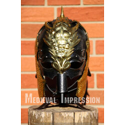 Gothic Green DRAGON SHIELD - sca/larp/medieval/painted/knight/wooden/steel/armor