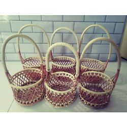Lot of 6 Small Handled Wicker Baskets 3 Oval & 3 Round. Axp 8'' @ Handle Height.