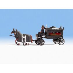 HO Noch Old Time Victorian Horse Drawn Hearse with Driver Figures # 16714