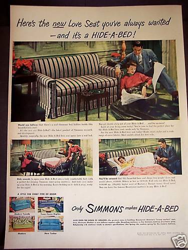 1949 Vintage Furniture Ad Retro Decor Simmons Hide A Bed