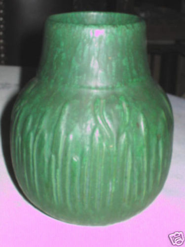 Antique mission arts crafts owens matte green plant flower for Arts and crafts vases pottery