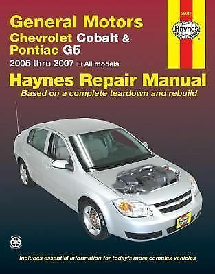 2005 2007 haynes chevrolet cobalt pontiac g5 repair. Black Bedroom Furniture Sets. Home Design Ideas
