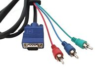 VGA to 3 RGB Component Video Cable Lead Converter For PC Laptop HD TV LCD Plasma
