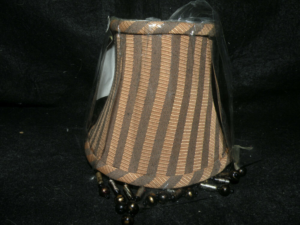 New brown black striped beaded chandelier shades 5 ebay for Beaded chandelier lamp shades