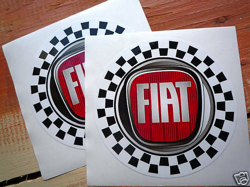 fiat modern style logo check circular stickers 100mm pair abarth 500 punto ebay. Black Bedroom Furniture Sets. Home Design Ideas