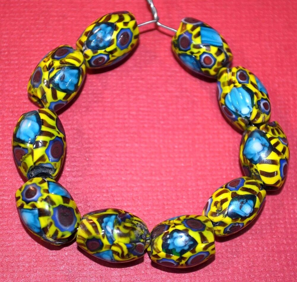 Bead Glass African Beads: Rare Semi Oval Antique Venetian Millefiori Italian Glass