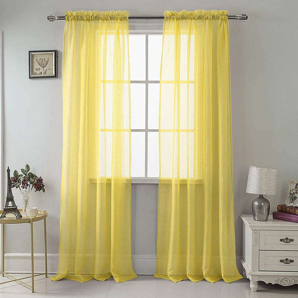 set of 2 sheer voile tailored curtains 90 long bright yellow ebay. Black Bedroom Furniture Sets. Home Design Ideas