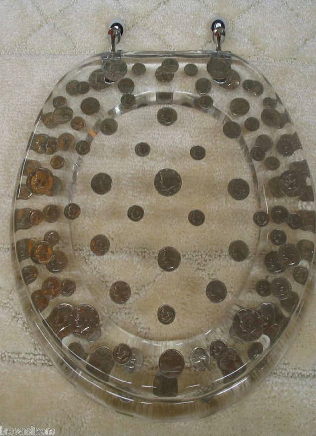 elongated real us coins money lucite resin toilet seat ebay. Black Bedroom Furniture Sets. Home Design Ideas