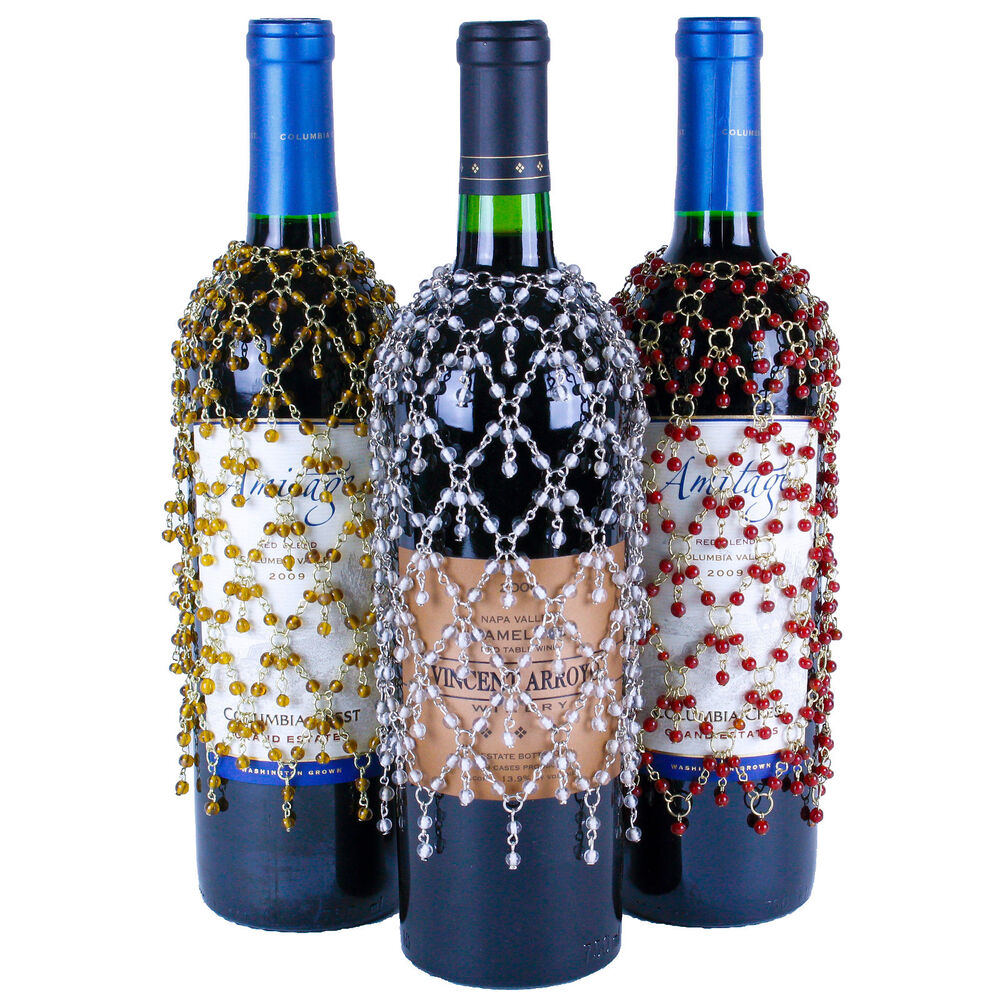 3 beaded double dangle wine bottle covers gold silver for How to cut the top off a wine bottle